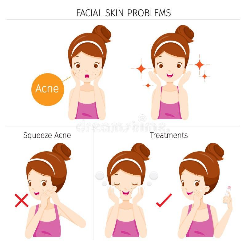 Fille avec l'acné, les problèmes de peau faciaux et le traitement illustration de vecteur