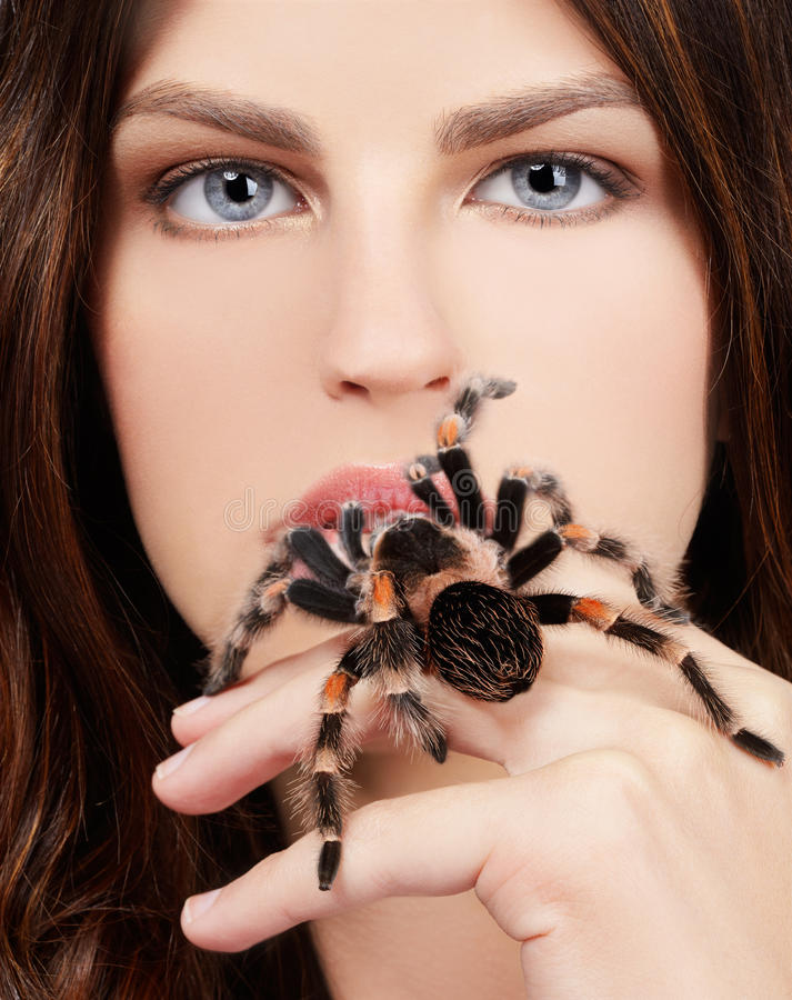 Fille avec l'araignée photos libres de droits