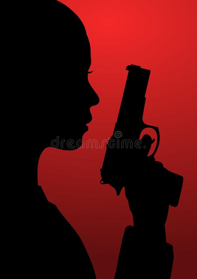 Fille avec l'arme à feu illustration libre de droits