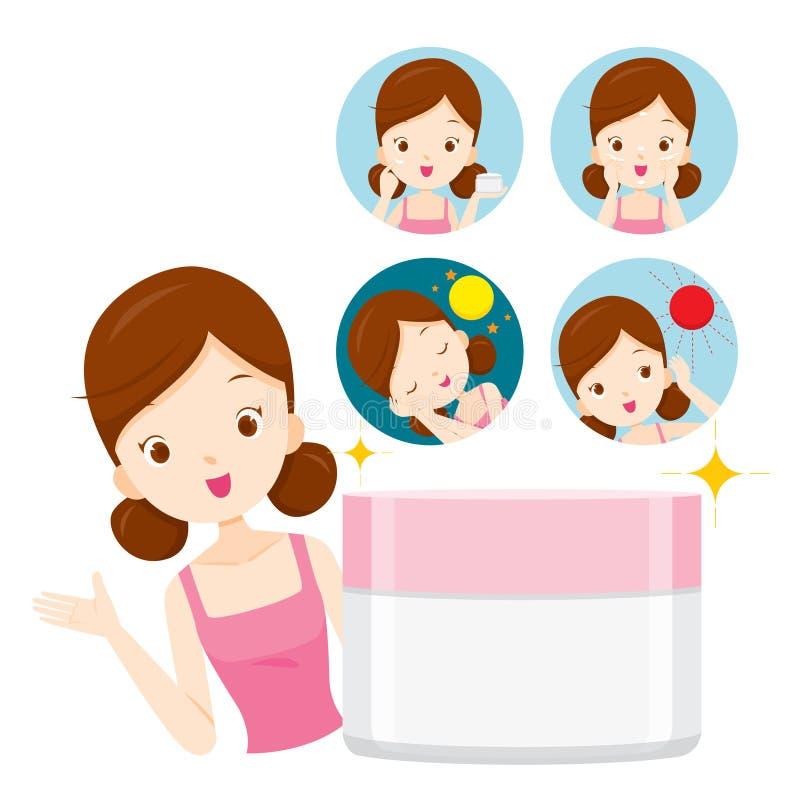 Fille avec l'emballage et les icônes de crème hydratante illustration libre de droits