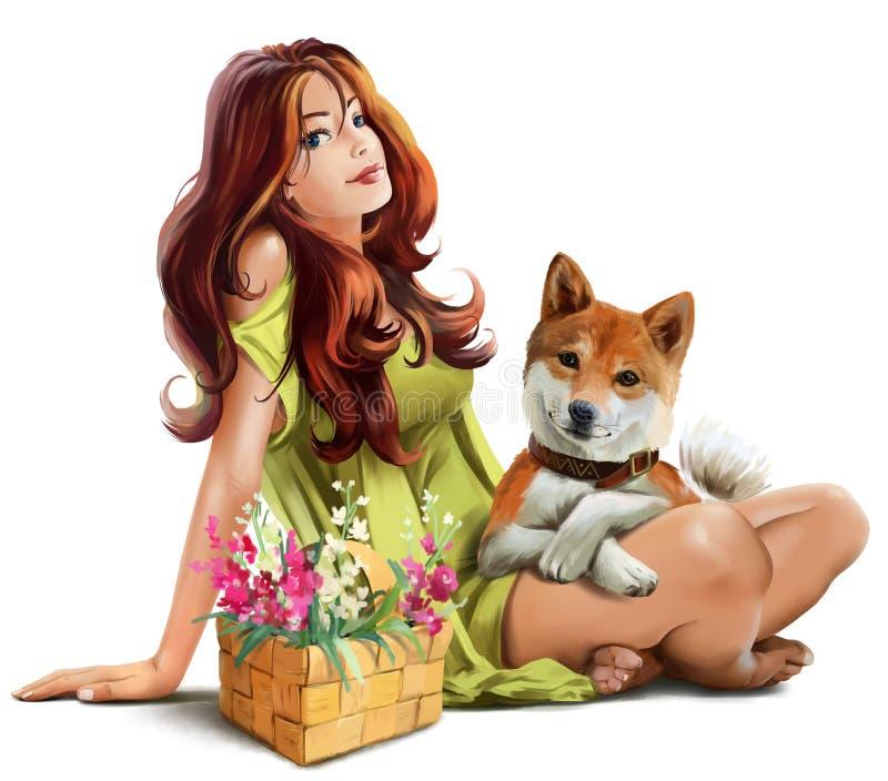 Fille avec l'inu de Shiba de chien illustration stock