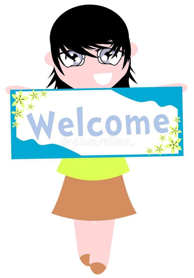 Fille avec la bannière bienvenue illustration libre de droits