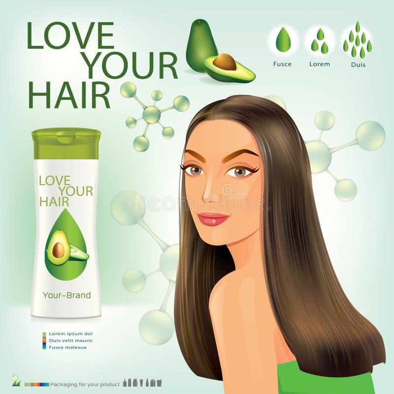 Fille avec la belle coupe de cheveux Illustration de bouteille pour le shampooing Vecteur photographie stock libre de droits