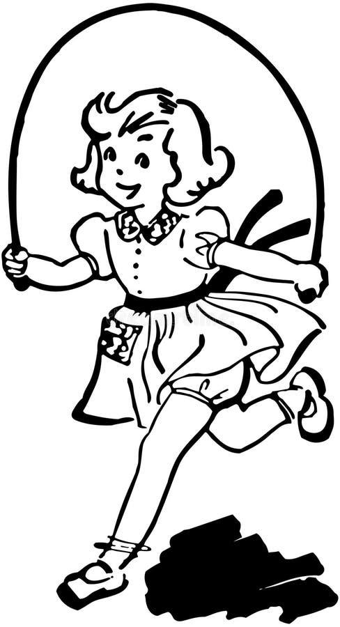 Fille avec la corde à sauter illustration libre de droits