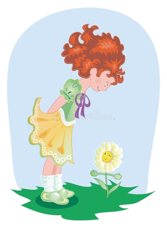Fille avec la fleur illustration libre de droits