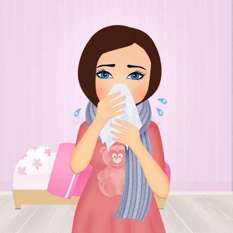 Fille avec la grippe illustration stock