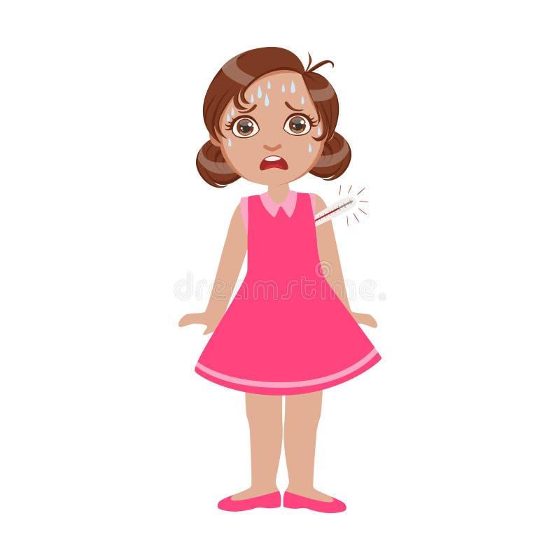Fille avec la grosse fièvre avec le thermomètre, l'enfant malade se sentant souffrant en raison de la maladie, la partie d'enfant illustration de vecteur