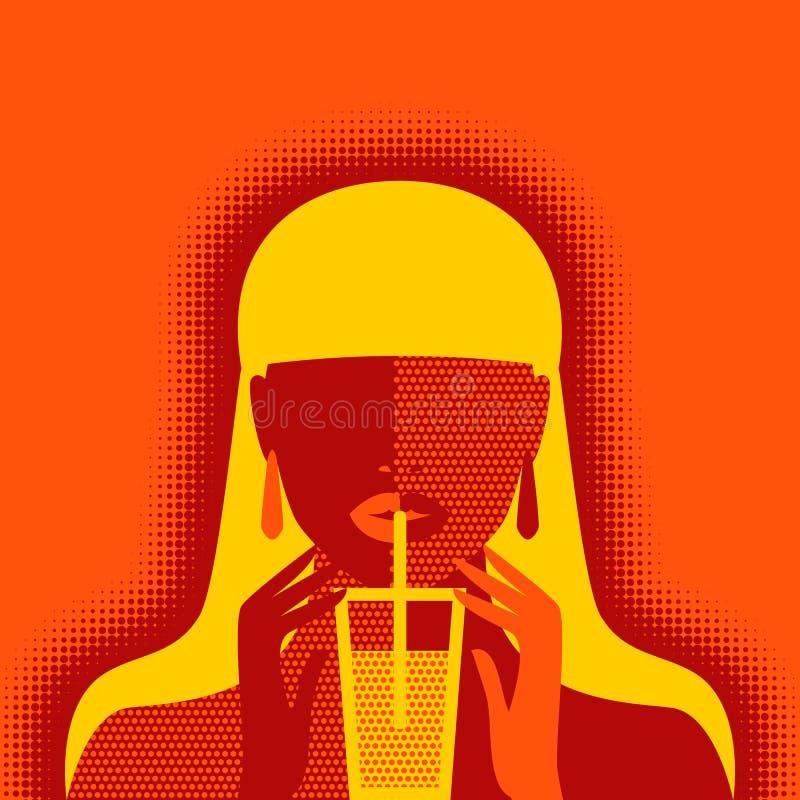 Fille avec la limonade sur le fond orange illustration stock