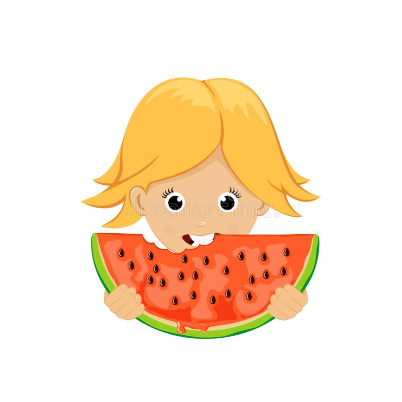 Fille avec la pastèque illustration libre de droits