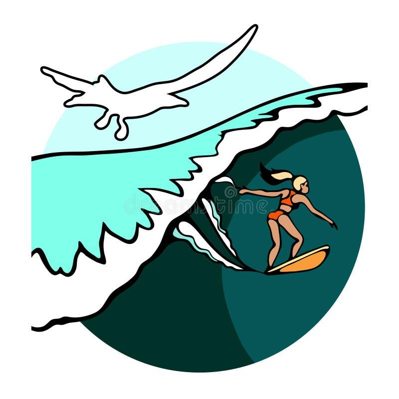 Fille avec la planche de surf sur la plage sur un fond d'une grands vague et coucher du soleil peints à la main illustration libre de droits