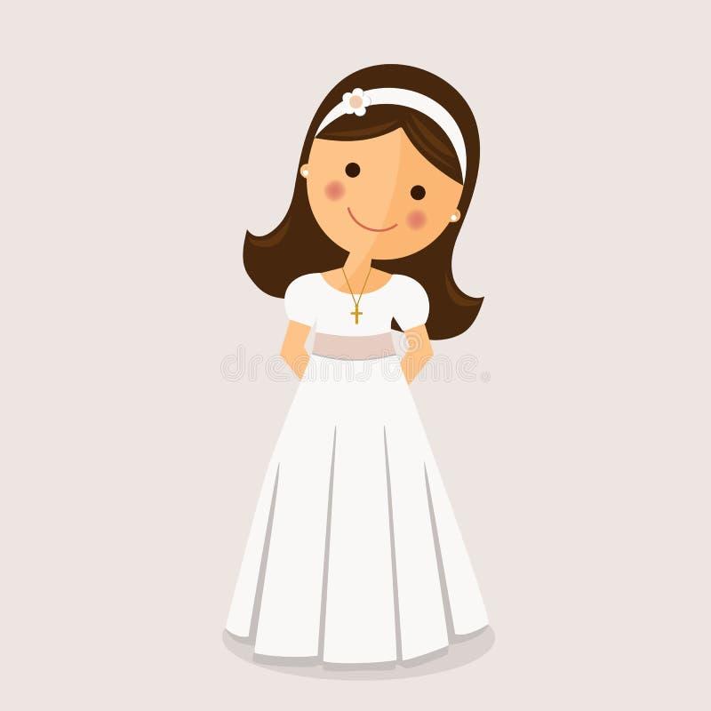Fille avec la robe de communion illustration de vecteur
