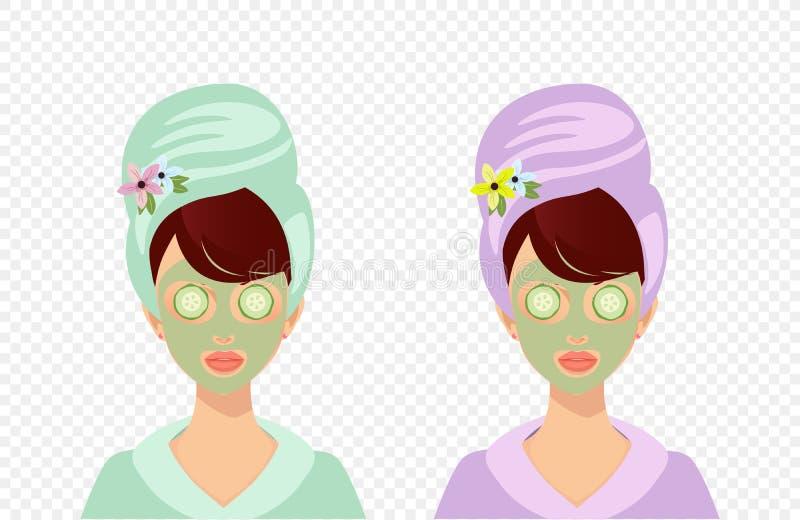 Fille avec la serviette appliquant le masque facial avec le concombre illustration stock
