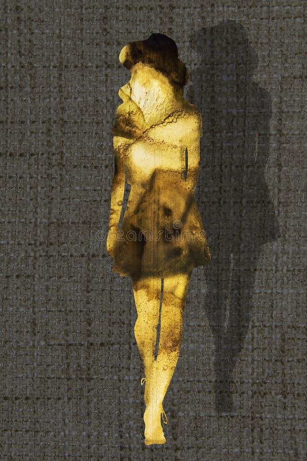 Fille avec la silhouette de chapeau Illustration de mode illustration de vecteur