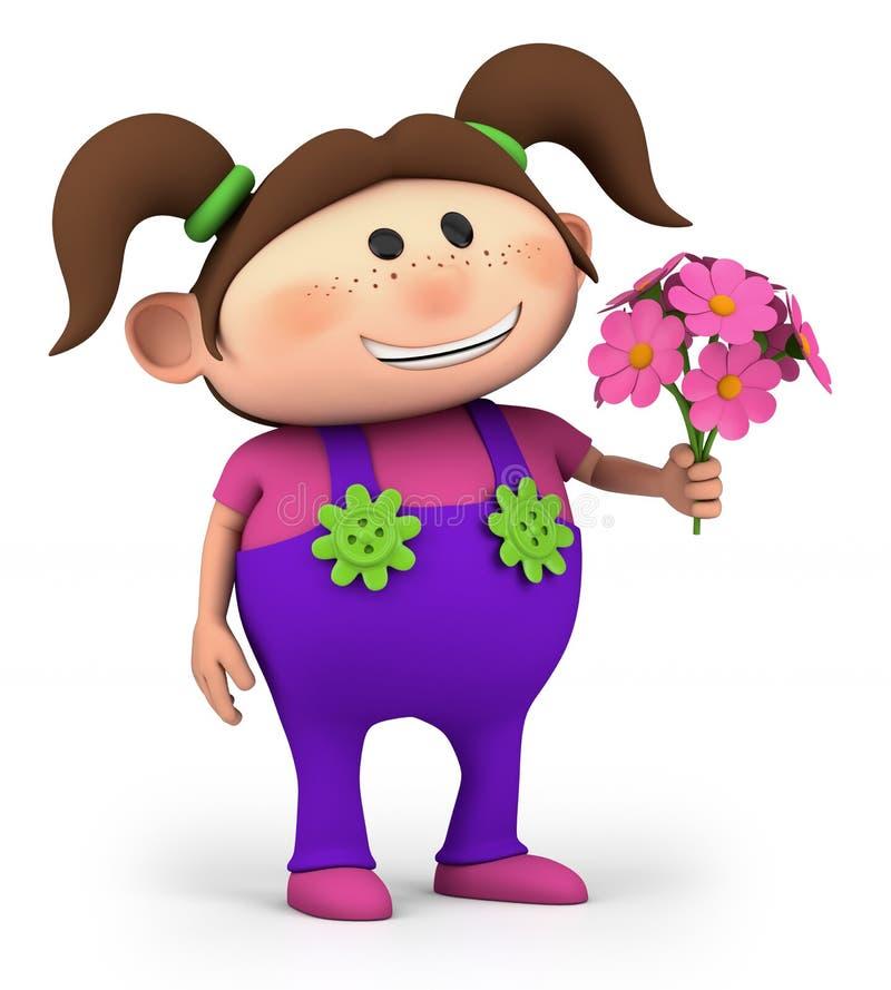 Fille avec le bouquet des fleurs illustration libre de droits