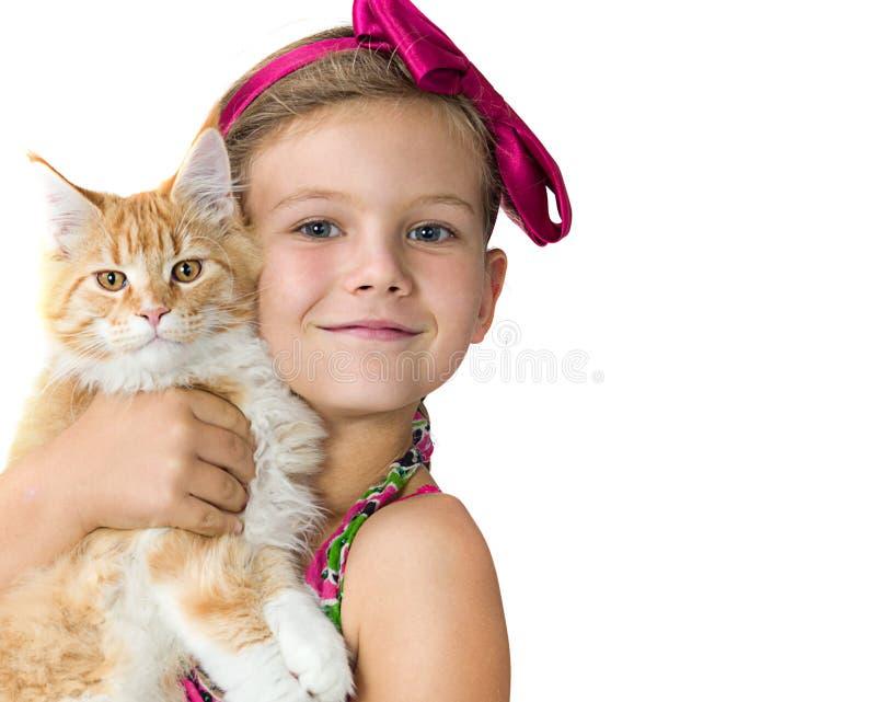 Fille avec le chat images libres de droits
