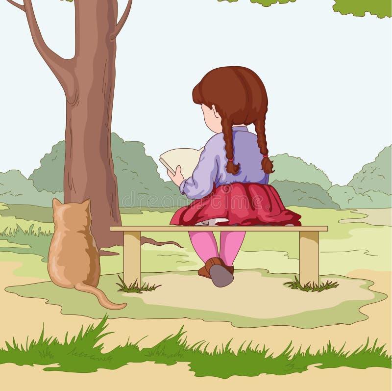 Fille avec le chat illustration libre de droits
