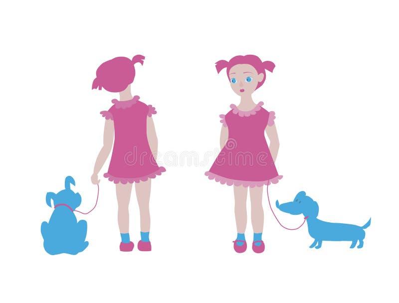 Fille avec le chien d'isolement sur le fond blanc illustration de vecteur