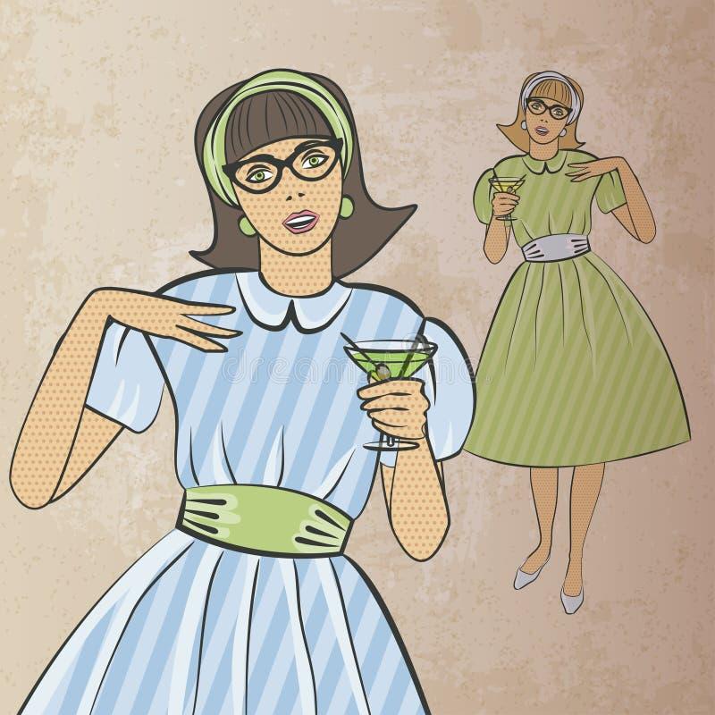 Fille avec le cocktail dans le rétro style illustration libre de droits