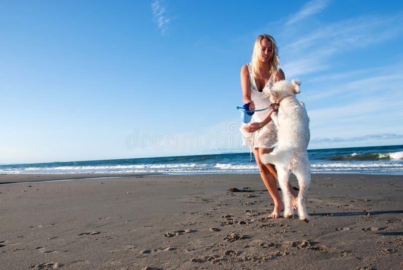 Fille avec le crabot à la plage photographie stock libre de droits
