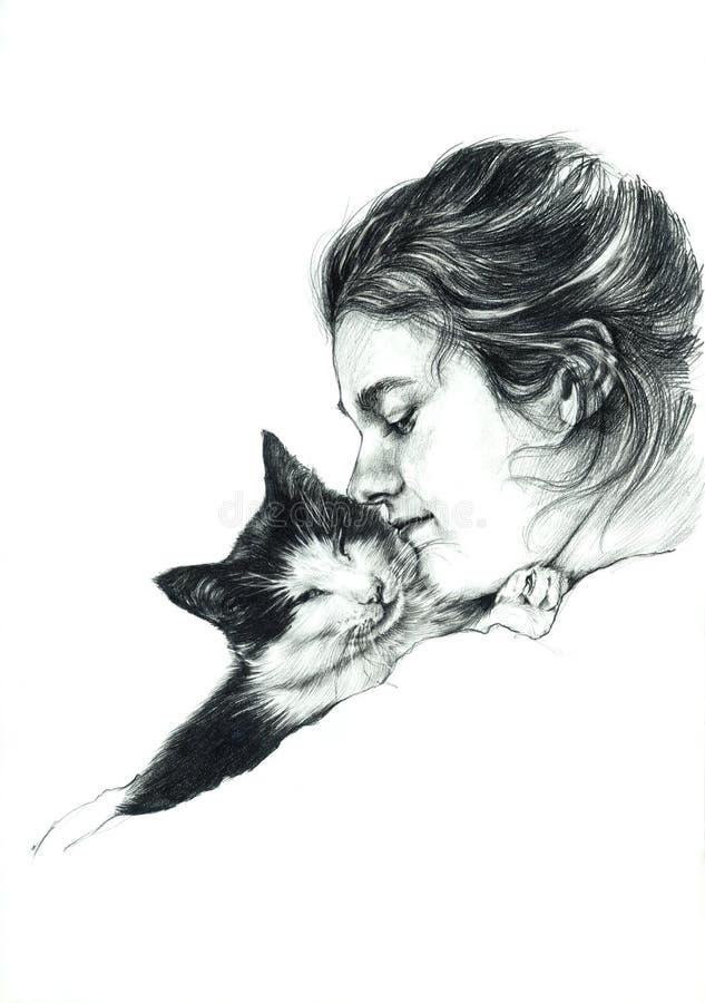 Fille avec le dessin de chat photo stock