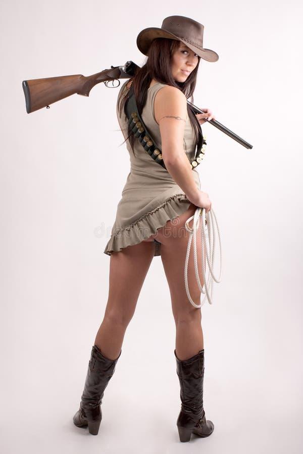 Fille avec le fusil de chasse image libre de droits