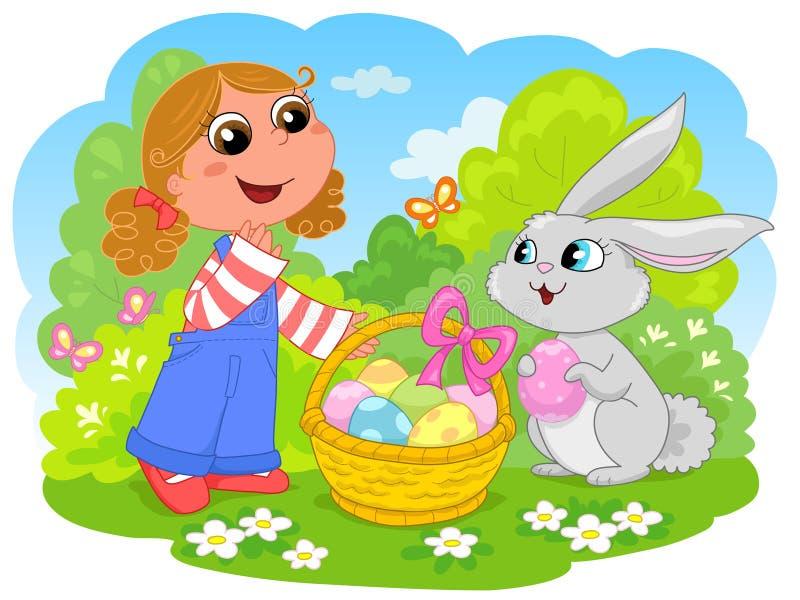 Fille avec le lapin de Pâques illustration de vecteur