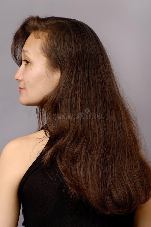 Fille avec le long cheveu brun image libre de droits