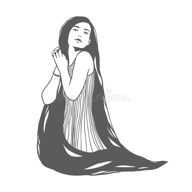 Fille avec le long cheveu Illustration de vecteur illustration de vecteur