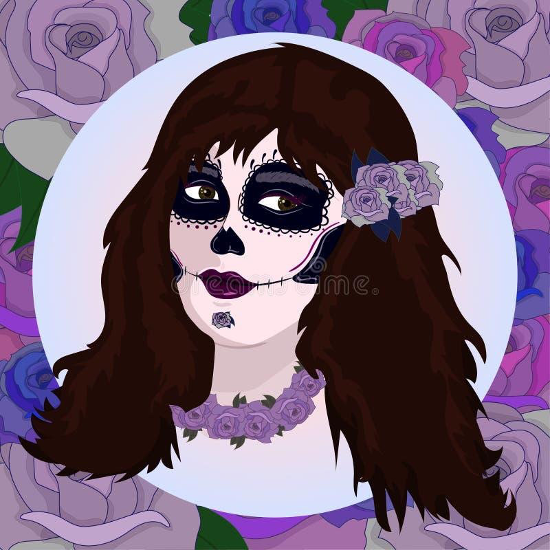 Fille avec le maquillage de crâne de sucre Calavera Catrina Jour mexicain des morts ou de la personne de Halloween Dia de Los Mue illustration stock