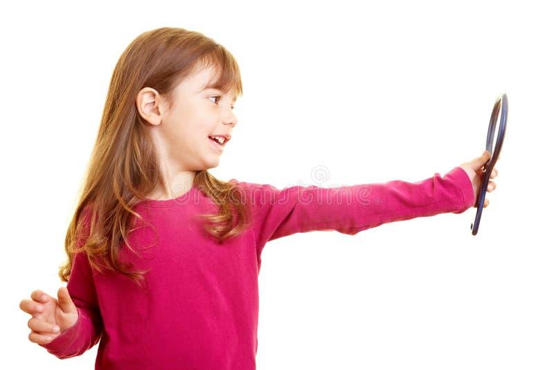Fille avec le miroir photos libres de droits