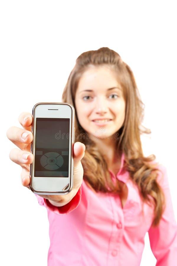 Fille avec le mobile. photos libres de droits