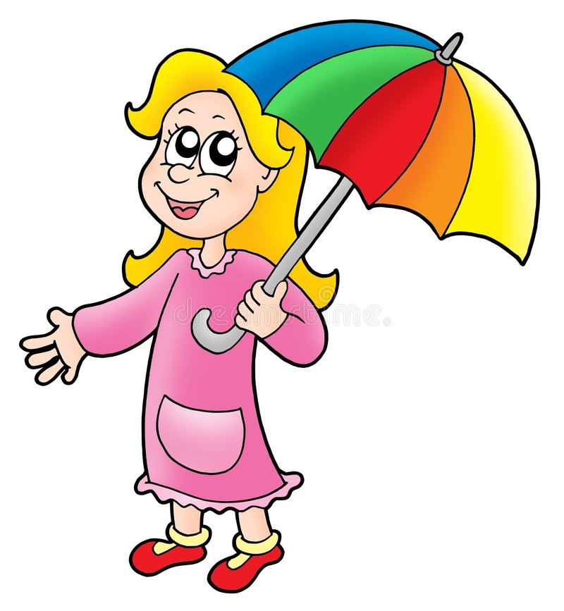 Fille avec le parapluie illustration libre de droits