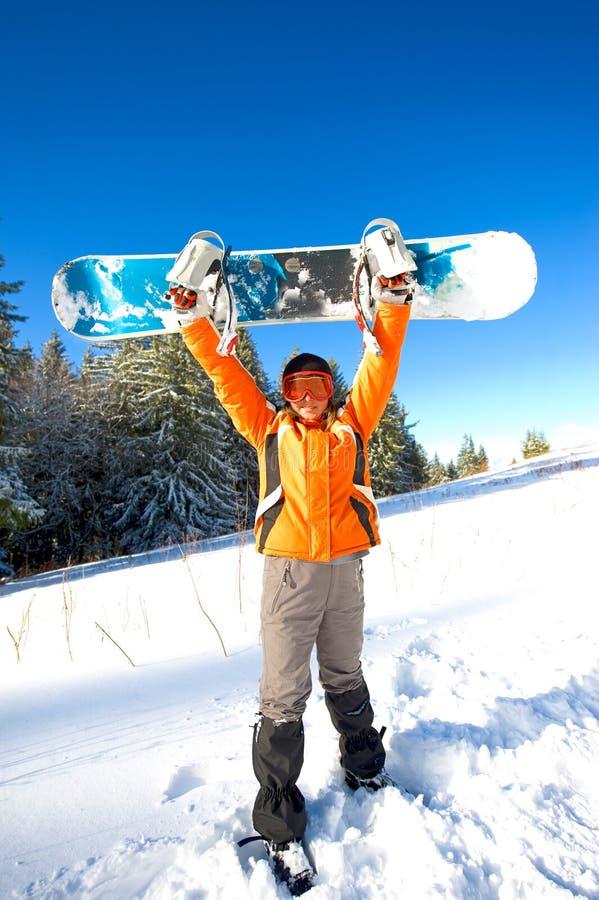 Fille avec le snowboard images libres de droits