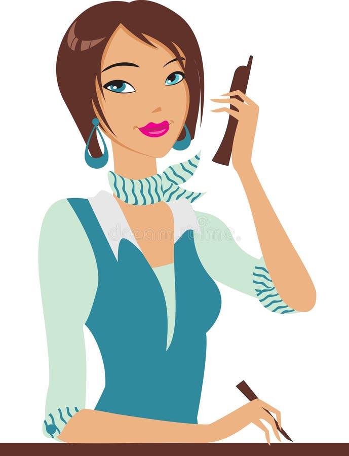 Fille avec le téléphone illustration libre de droits