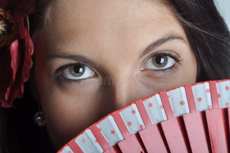 Fille avec le ventilateur image stock