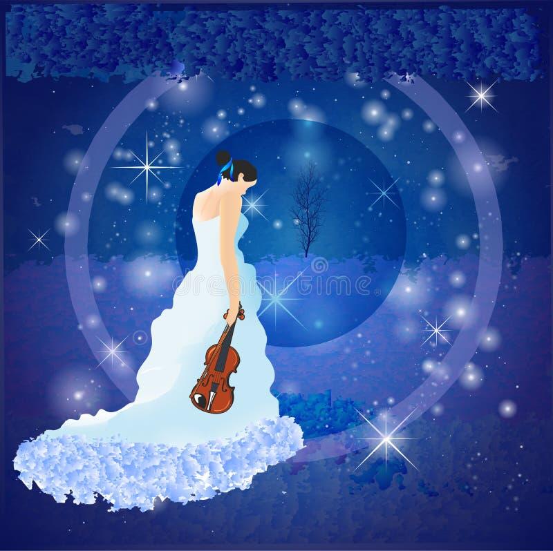 Fille avec le violon illustration libre de droits