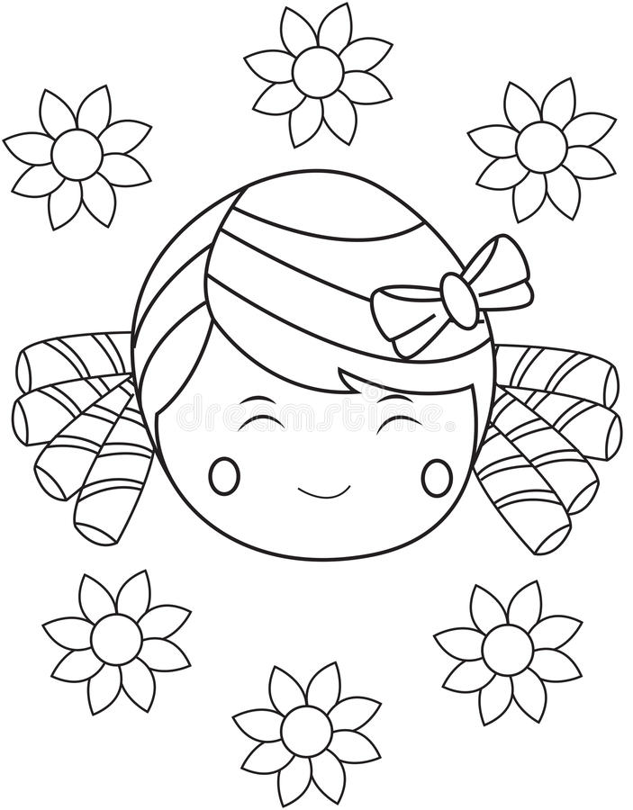 Fille avec le visage heureux illustration libre de droits