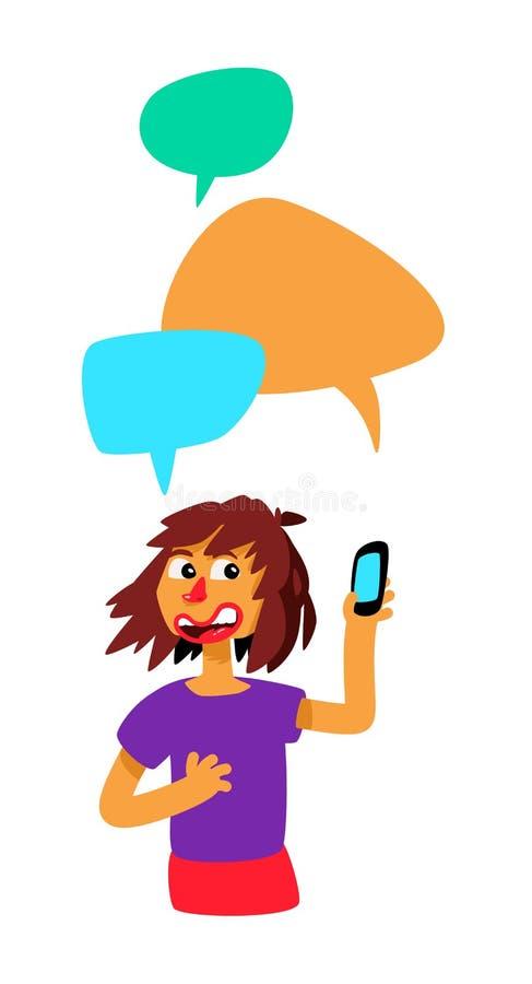 Fille avec les bulles et le téléphone comiques Vecteur La fille cause Illustration dans le style de bande dessinée L'illustration illustration de vecteur