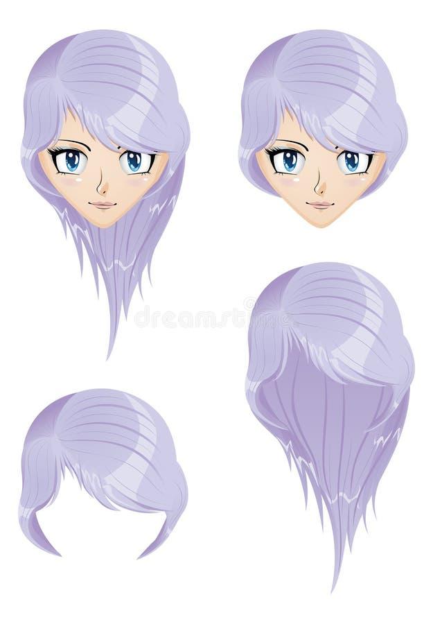 Fille avec les cheveux violets illustration stock