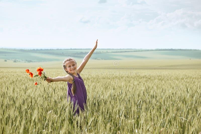 Fille avec les fleurs rouges de tulipe posant dans le domaine de blé, le soleil lumineux, beau paysage d'été photographie stock