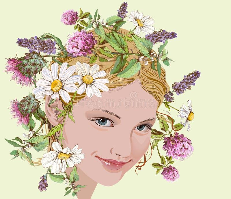 Fille avec les fleurs sauvages et la guirlande d'herbes illustration libre de droits