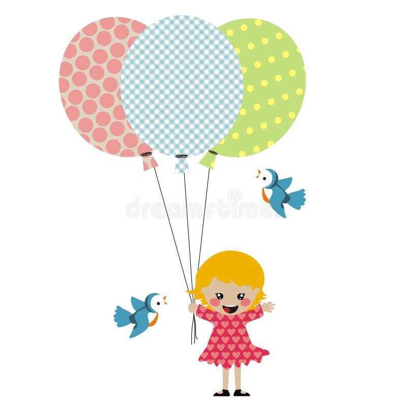 Fille avec trois ballons illustration libre de droits