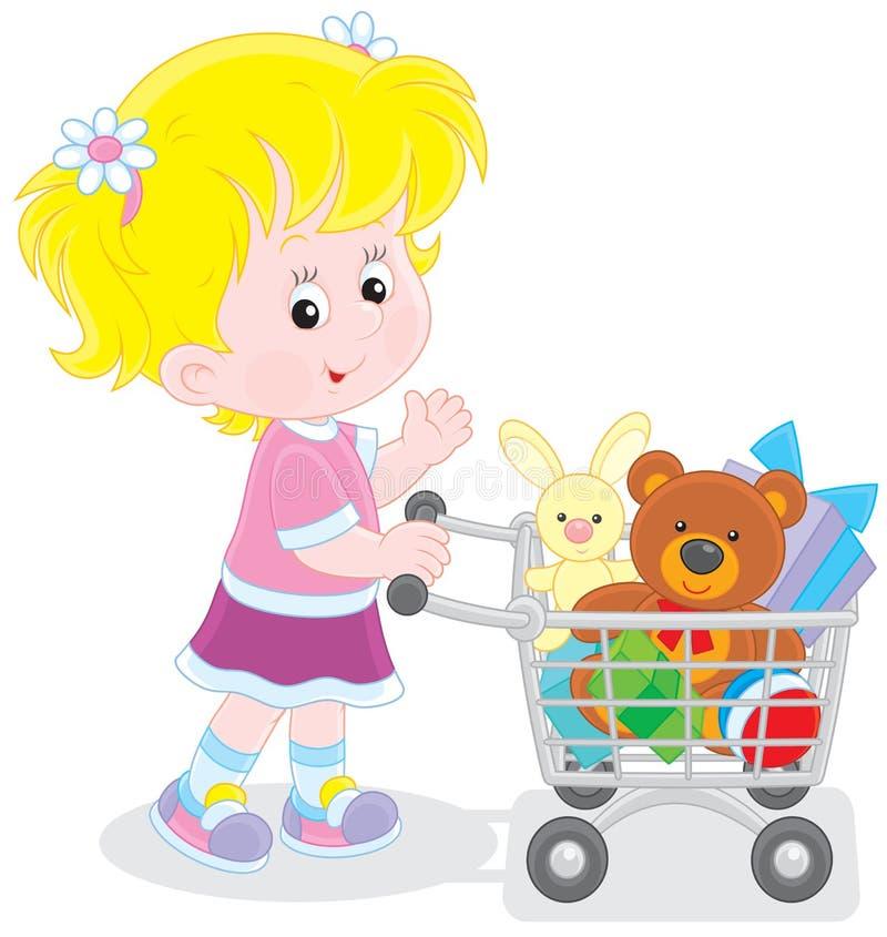 Fille avec un chariot à achats des jouets illustration stock
