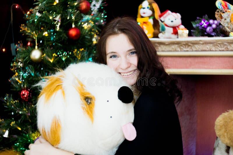 Fille avec un chien de jouet images stock