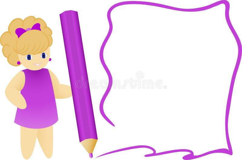 Fille avec un crayon illustration de vecteur