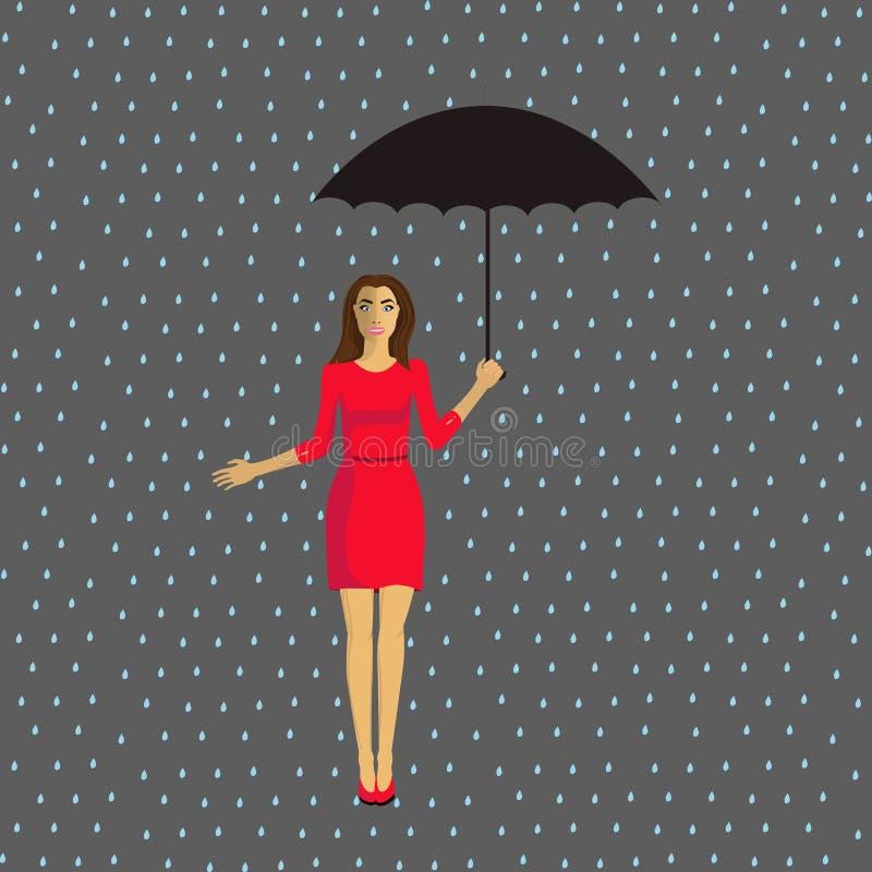 Fille avec un parapluie sous la pluie photo libre de droits