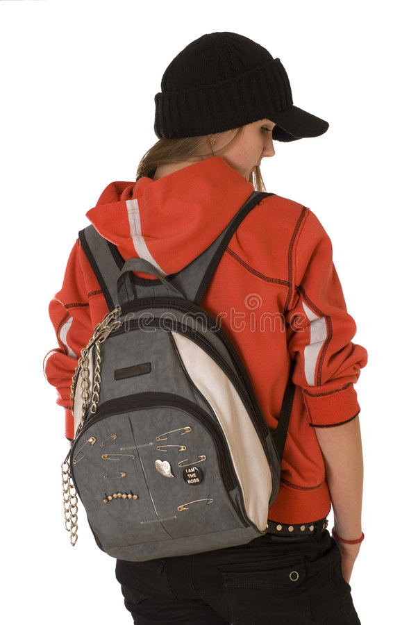 fille avec un sac à dos photo stock