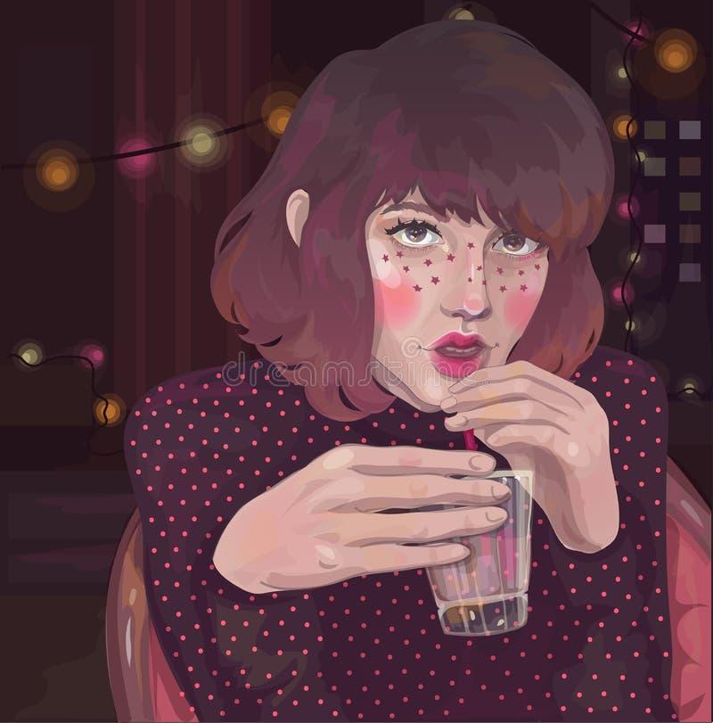 Fille avec un verre à une partie de pièce illustration libre de droits