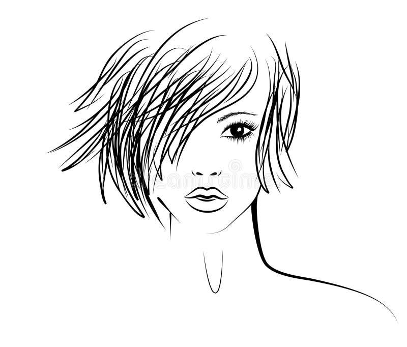Fille avec une coiffure à la mode illustration stock