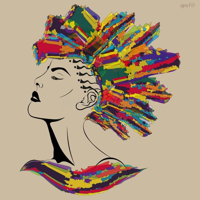 Fille avec une coupe de cheveux de Mohawk illustration libre de droits
